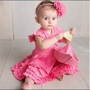Lemon Loves Layette Pink Mia Dress Headband 6-12 M